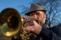 An elderly musician plays in the street on a trumpet Royalty Free Stock Images