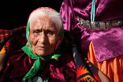 Elderly Navajo Native Woman Wearing Traditional Tu Stock Photo