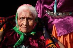 Elderly Navajo Native Woman Wearing Traditional Tu Stock Photo