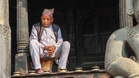Elderly Nepali Man wearing National Cap royalty free stock image