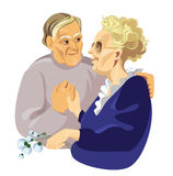 Elderly pair. Vector illustration of the portraits elderly pair vector illustration