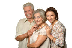 Elderly parents with daughter Royalty Free Stock Image
