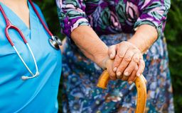 Elderly with Parkinson's Disease Royalty Free Stock Photo