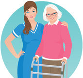 Elderly patient and a nurse. An elderly woman with a walker and nurse royalty free illustration