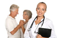 Elderly patients came to visit a young doctor Royalty Free Stock Image