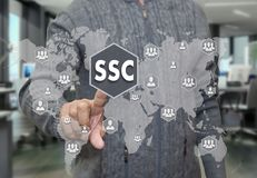 An elderly pensioner chooses SSC, service Center around the worl stock images