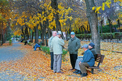 Elderly pensioners walking in the autumn park in Volgograd Royalty Free Stock Images