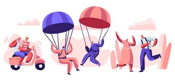 Elderly People Active Lifestyle. Happy Aged Pensioner Characters Doing Extreme Sport, Skydiving with Parachute, Riding Motorbike. Elderly People Active Lifestyle royalty free illustration