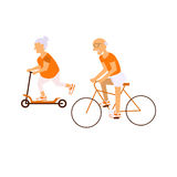 Elderly people on bicycles. In different poses. Healthy active lifestyle retiree. Sport for grandparents, elder fitness, cycling for Seniors isolated on white Royalty Free Stock Images