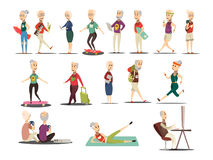 Elderly People Concept Icons Set. With travel and tourism symbols cartoon isolated vector illustration Stock Illustration