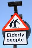 Elderly people crossing sign. Royalty Free Stock Photos