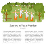 Elderly people doing exercises. In different poses. Healthy active lifestyle retiree. Sport for grandparents, elder fitness, yoga for Seniors in park.  Vector Stock Image