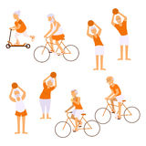 Elderly people doing exercises. In different poses. Healthy lifestyle, active lifestyle retiree. Sport for grandparents, elder fitness and cycling for Seniors Stock Photography