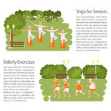 Elderly people doing exercises. In different poses poster. Healthy active lifestyle retiree. Sport for grandparents, elder fitness, yoga for Seniors in park Stock Photography