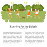 Elderly people doing exercises. Healthy lifestyle, active lifestyle retiree. Sport for grandparents, elder Race for Seniors. Place for your text. Vector Stock Photos
