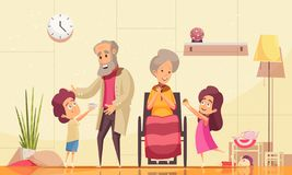 Elderly People Family Help. Helping elderly people home flat cartoon composition with grandchildren serving coffee cakes to old grandparents vector illustration stock illustration