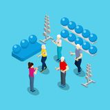 Elderly People Fitness Exercises Isometric Banner Royalty Free Stock Image