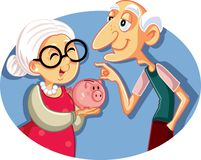 Senior Couple Saving for Retirement Vector Illustration royalty free stock photography