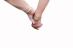 Elderly people holdind hand together. In white background Royalty Free Stock Photos