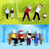 Elderly People Horizontal Banners Set stock illustration