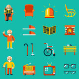 Elderly people icons Stock Image