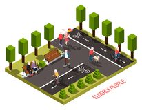 Elderly People Isometric Composition. Elderly people nursing home outdoor recreation area isometric composition with residents cycling walking dog reading vector royalty free illustration
