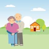 Elderly people in nature Stock Photos