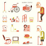 Elderly people and objects for life. Elderly people and objects for pensioners.Vector flat design icons Royalty Free Stock Images