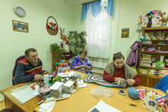 Elderly people during occupational therapy for eldery and disabled in rehabilitation department in Center of social services Stock Photography