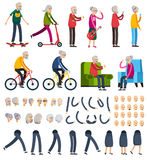 Elderly People Orthogonal Constructor Icons Royalty Free Stock Image