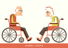 Elderly people.Pensioners in a wheelchairs Vector Illustration