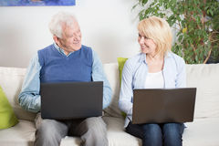 Elderly people satisfied with their jobs Royalty Free Stock Photo