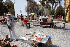 Elderly people on an street antique market Stock Photo
