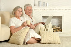 Elderly people with tea and laptop. Two elderly people sitting near couch with tea and laptop Royalty Free Stock Photos