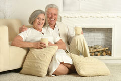 Elderly people with tea Stock Image