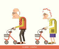 Elderly people with walkers. Disabled old man and old woman with walkers.Vector illustration isolated Stock Photos