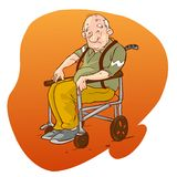 Elderly people in wheelchair Royalty Free Stock Images
