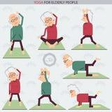 Elderly people yoga lifestlye.Vector illustration Stock Photos