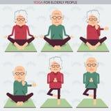 Elderly people yoga lifestlye.Vector symbols Royalty Free Stock Images
