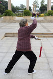 Elderly performing tai chi with sword in winter Royalty Free Stock Photography