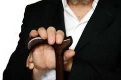 Elderly person with cane Royalty Free Stock Image
