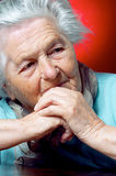 Elderly person contemplating Royalty Free Stock Photos