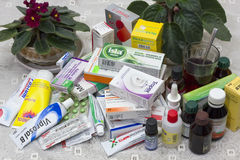 Elderly person drugs heap Stock Images
