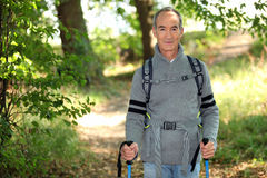 Elderly person hiking Royalty Free Stock Images
