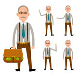 Elderly Person Holding Bag with Money on White Stock Photos