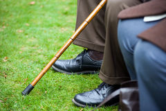 Elderly person with stick Stock Photos
