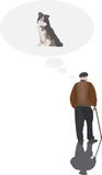Elderly person. Think his dog Stock Photo