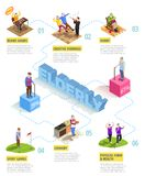 Elderly Persons Isometric Infographics. Isometric infographics on white background with information about activities of elderly persons men and women vector stock illustration