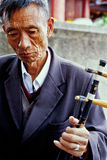 Elderly playing erhu Stock Photos