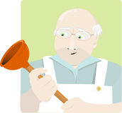 Elderly plumber Stock Images